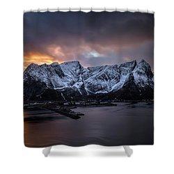 Sunset In Reine Shower Curtain by Swen Stroop