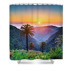 Sunset In The Canary Islands Shower Curtain by JR Photography