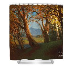 Sunset In The Nebraska Territory Shower Curtain by Albert Bierstadt