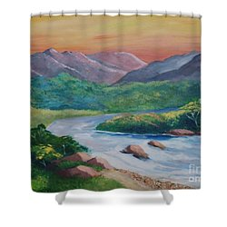 Sunset In The River Shower Curtain