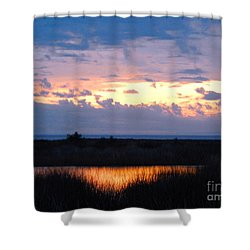 Sunset In The River Sea Beyond Shower Curtain by Expressionistart studio Priscilla Batzell