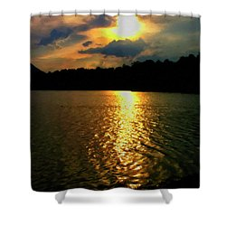 Shower Curtain featuring the digital art Sunset In The Smoky Mountains 1 by Chris Flees