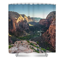 Sunset In Zion National Park Shower Curtain by JR Photography