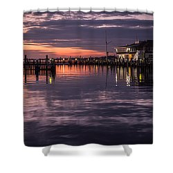 Sunset Island Heights Yacht Club Shower Curtain