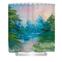 Shower Curtain featuring the painting Sunset Lake by Saundra Johnson