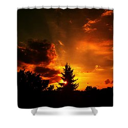 Sunset Madness Shower Curtain by Flavien Gillet