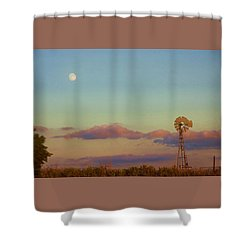 Shower Curtain featuring the digital art Sunset Moonrise With Windmill  by Shelli Fitzpatrick