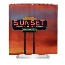 Shower Curtain featuring the photograph Sunset Motel by Donna Kennedy
