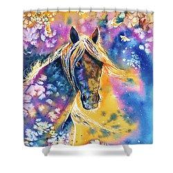 Shower Curtain featuring the painting Sunset Mustang by Zaira Dzhaubaeva
