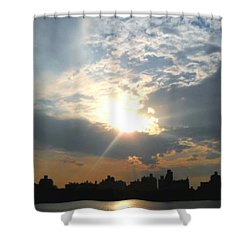 Shower Curtain featuring the photograph Sunset New York  by Vannetta Ferguson