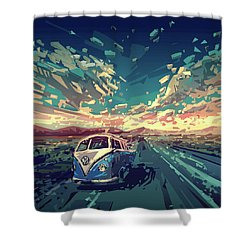 Sunset Oh The Road Shower Curtain by Bekim Art