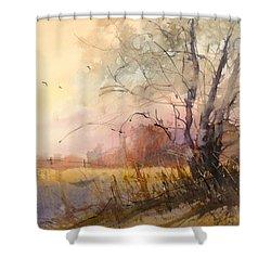 Sunset On 108th Shower Curtain by Sandra Strohschein