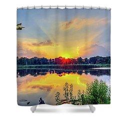 Sunset On A Chesapeake Bay Pond Shower Curtain