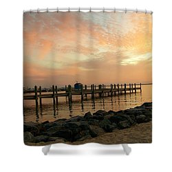 Sunset On Dewey Bay Shower Curtain