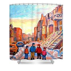 Sunset On Hotel De Ville Street Montreal Shower Curtain by Carole Spandau