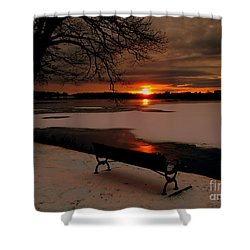 Sunset On Lake Quanapowitt Shower Curtain