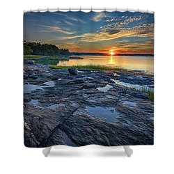Shower Curtain featuring the photograph Sunset On Littlejohn Island by Rick Berk
