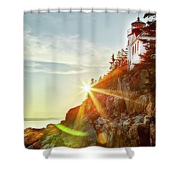 Ocean Sunset On Maine's Bass Harbor Lighthouse Shower Curtain