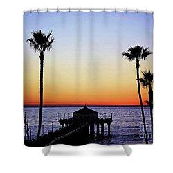 Sunset On Manhattan Beach Pier Shower Curtain