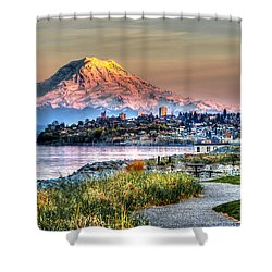 Sunset On Mt Rainier And Point Ruston Shower Curtain by Rob Green