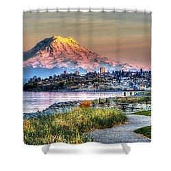 Sunset On Mt Rainier And Point Ruston Shower Curtain