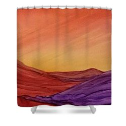 Sunset On Red And Purple Hills Shower Curtain