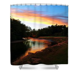 Sunset On Saco River Shower Curtain