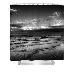 Sunset On Sanibel In Black And White Shower Curtain