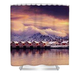 Sunset On Svolvaer Shower Curtain