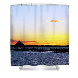 Sunset On The Bay Shower Curtain by Elsa Marie Santoro