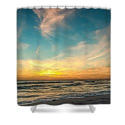 Sunset On The Beach Shower Curtain by Phillip Burrow