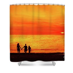 Shower Curtain featuring the digital art Sunset On The Beach by Randy Steele