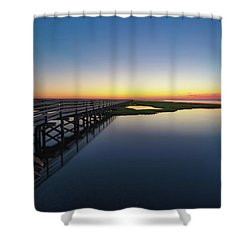 Sunset On The Boardwalk At Grays Beach Cape Cod Shower Curtain