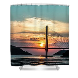 Sunset On The Bridge Shower Curtain by Hyuntae Kim