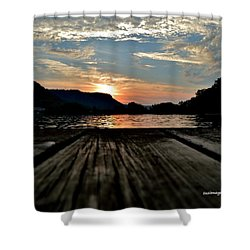 Sunset On The Dock Shower Curtain