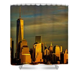 Sunset On The Financial District Shower Curtain by Eleanor Abramson