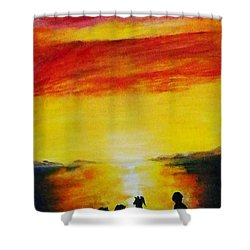 Sunset On The Great Salt Lake Shower Curtain by Sherril Porter