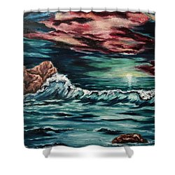 Sunset On The Horizon Shower Curtain by Cheryl Pettigrew