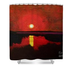 Shower Curtain featuring the painting Sunset On The Lake by Donald J Ryker III