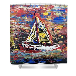 Sunset On The Lake Shower Curtain by J R Seymour