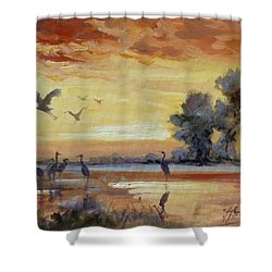 Sunset On The Marshes With Cranes Shower Curtain by Irek Szelag