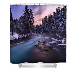 Shower Curtain featuring the photograph Sunset On The Metolius by Cat Connor