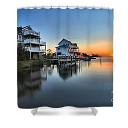 Sunset On The Obx Sound Shower Curtain