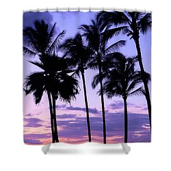 Sunset On The Palms Shower Curtain by Debbie Karnes