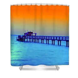 Sunset On The Pier Shower Curtain by Bill Cannon