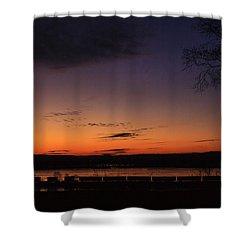 Sunset On The River Shower Curtain by Joni Eskridge