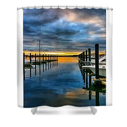 Sunset On The River Shower Curtain by Lauren Fitzpatrick