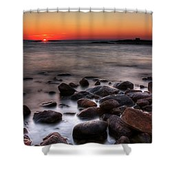 Sunset On The Rocks Shower Curtain by Brian Boudreau