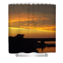 Sunset On The Shore  Shower Curtain by Don Koester