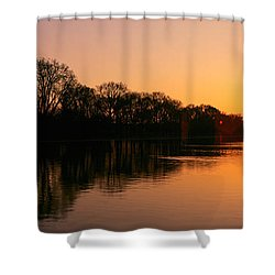 Sunset On The Washington Monument & Shower Curtain by Panoramic Images